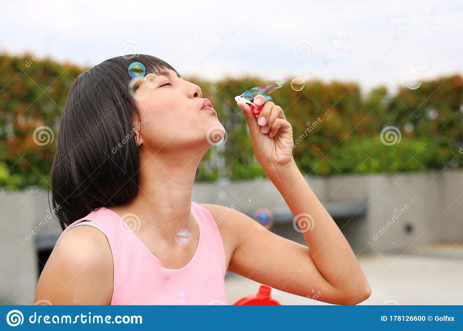bubble Young outdoor asian