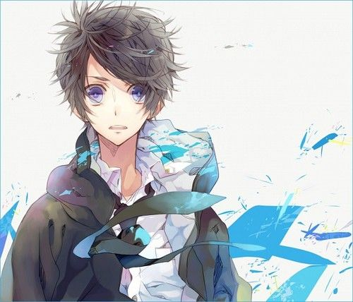 Anime guy with brown hair and blue eyes