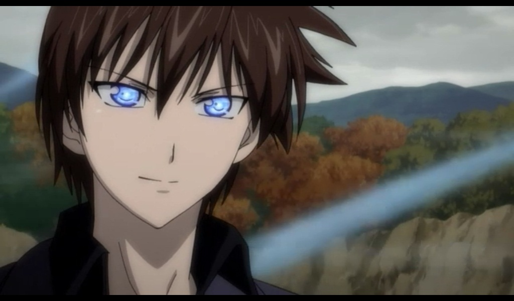 and eyes guy blue brown with Anime hair
