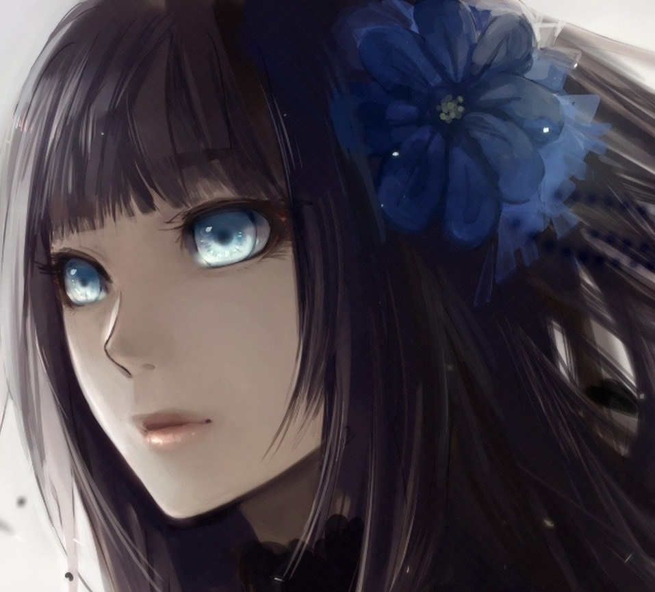 hair Anime girl black black with eyes and