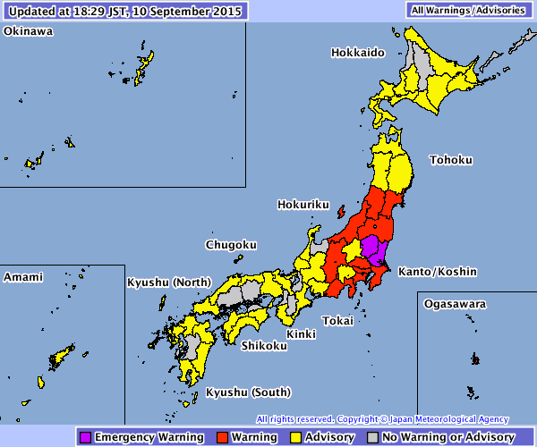 map Japan meteorological weather