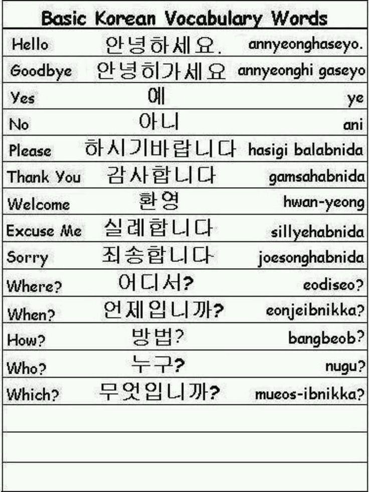 about languages All korean