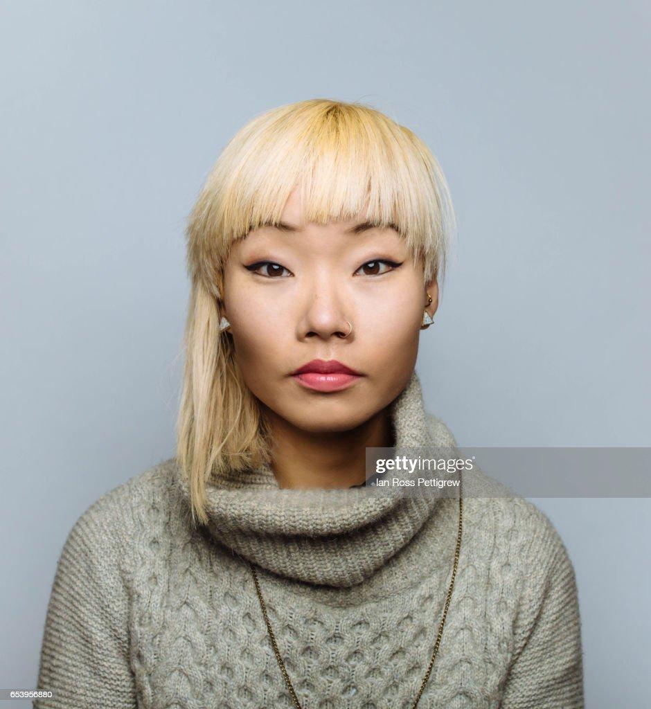 Asian woman blonde otngagged
