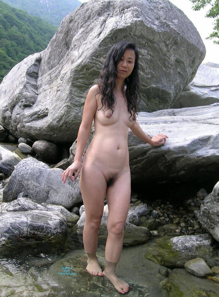 voyeur shaved Outdoor asian